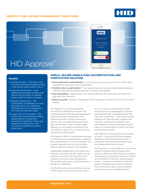 HID Approve Mobile Application Datasheet