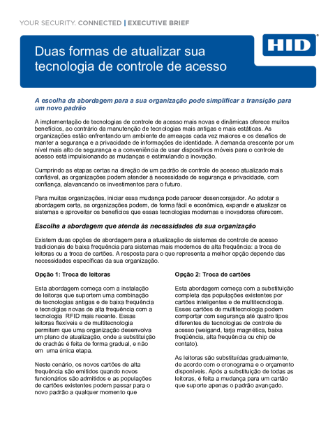 TWO PATHS TO UPGRADE YOUR ACCESS CONTROL TECHNOLOGY EXECUTIVE BRIEF (PORTUGUESE)